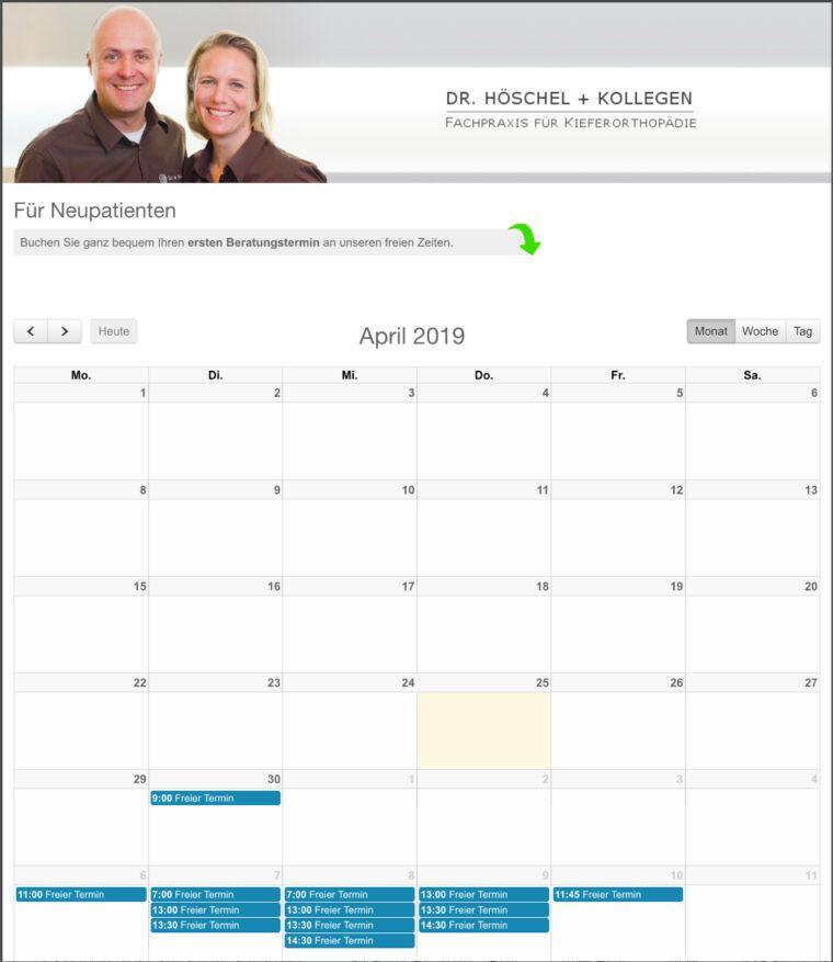 Zeitgemäße Patienten Kommunikation unser online Terminvereinbarungkalender